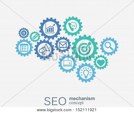 SEO mechanism concept. Abstract background with integrated gears and icons for strategy, digital, internet, network, connect, analytics, social media and global concepts