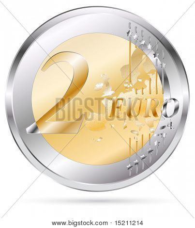 vector two euro coin isolated on white