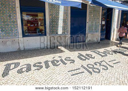 The Entrance Of The Famous Pasteis De Belem Store