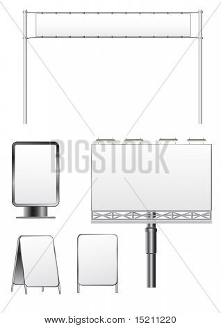 vector outdoor billboard set isolated on white