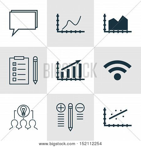 Set Of 9 Universal Editable Icons For Computer Hardware, Project Management And Marketing Topics. In