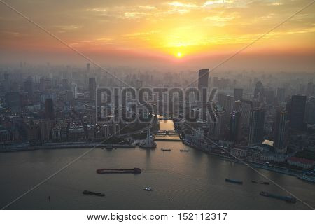 Bird's eye view of shanghai bund at sunset glow