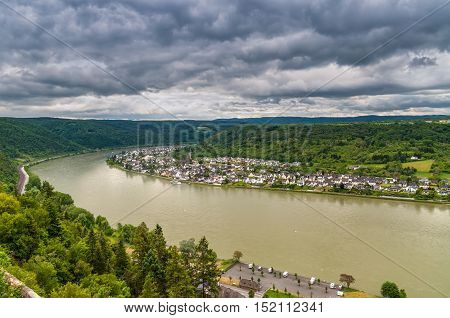 Aerial view of the Spay town on the Rhine River in cloudy weather Rhine Gorge UNESCO World Heritage Site Rhineland-Palatinate Germany Europe