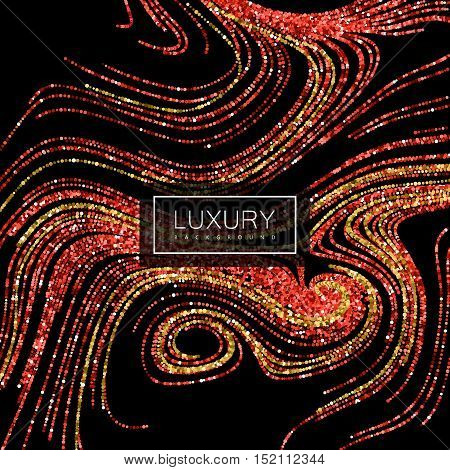 Luxury festive background with shiny red ruby and golden glitters. Vector illustration of red glittering swirled stripes texture. Marbling effect