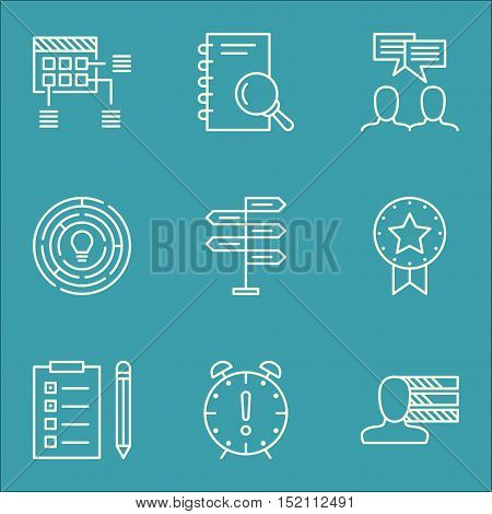 Set Of Project Management Icons On Time Management, Personal Skills And Present Badge Topics. Editab