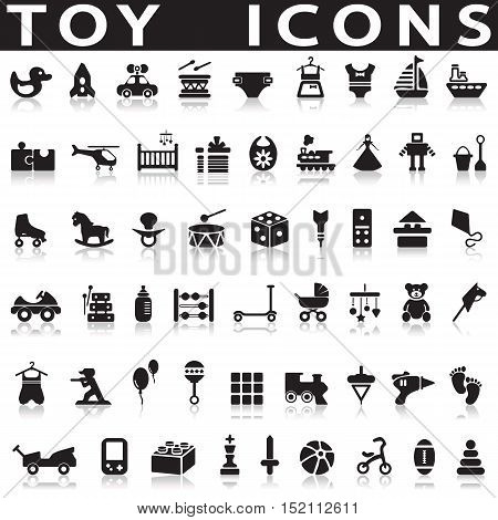 Toys Icons on a white background with a shadow