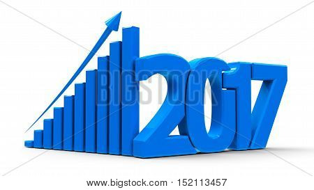 Blue business graph with arrow up and 2017 symbol represents growth in the new year 2017 three-dimensional rendering 3D illustration