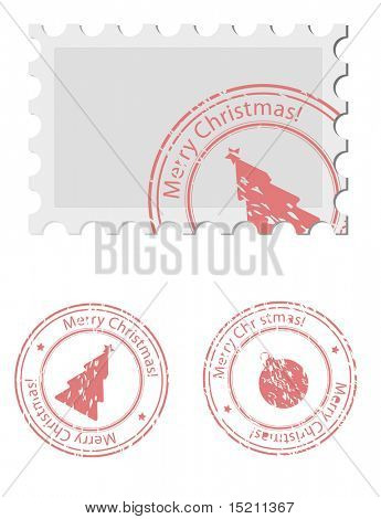 vector christmas stamp and postmark