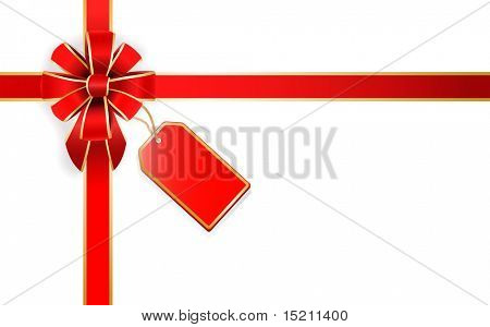 vector red bow with red tag