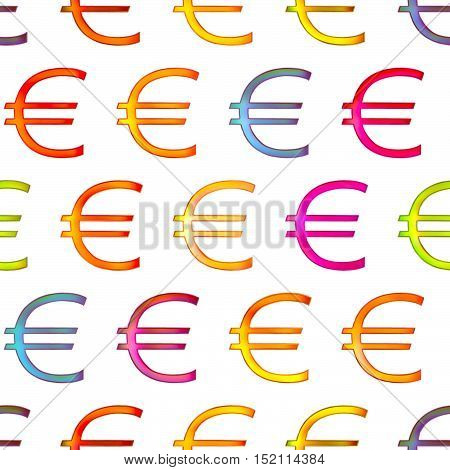 Seamless texture of bright shiny colorful euro sign Isolation on a white background