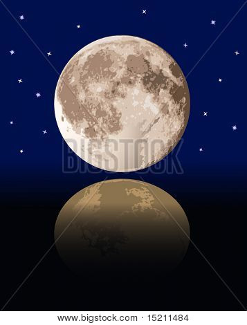 vector realistic full moon with reflection
