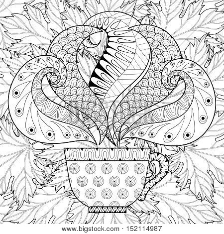 Zentangle stylized Сup of tea with steam on fall leaves background, hot beverage with artistically doodle elements. Ethnic ornamental vector illustration for adult coloring pages.