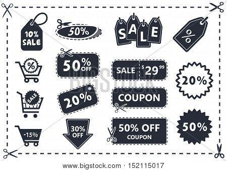 discount coupon, sale icon set, shopping cart