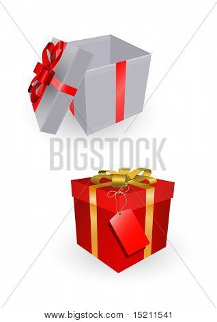 vector opened gift boxes isolated on white