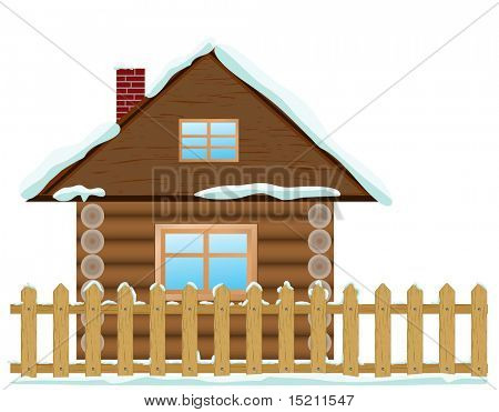 vector wooden house with snow