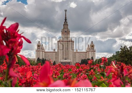 Summer view of the Lomonosov Moscow State University is a coeducational and public research university located in Moscow Russia. It was founded on January 25 1755 by Mikhail Lomonosov