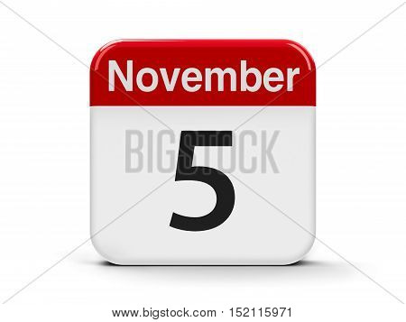 Calendar web button - The Fifth of November three-dimensional rendering 3D illustration
