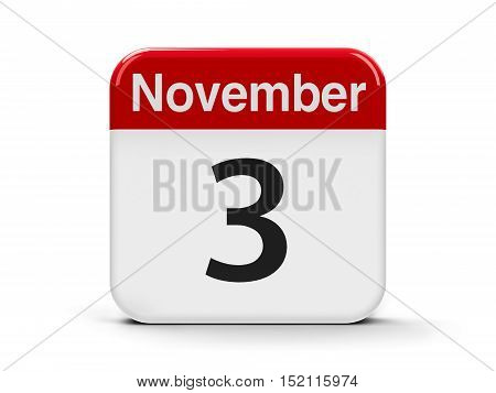 Calendar web button - The Third of November three-dimensional rendering 3D illustration