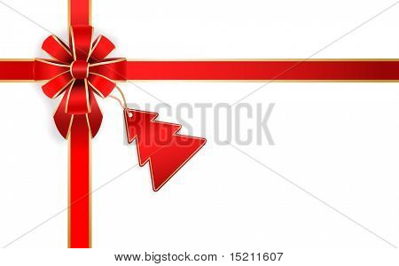 vector red bow with christmas tree tag