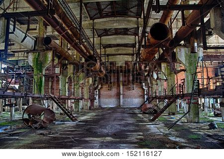 Machinery of abandoned factory of synthetic rubber