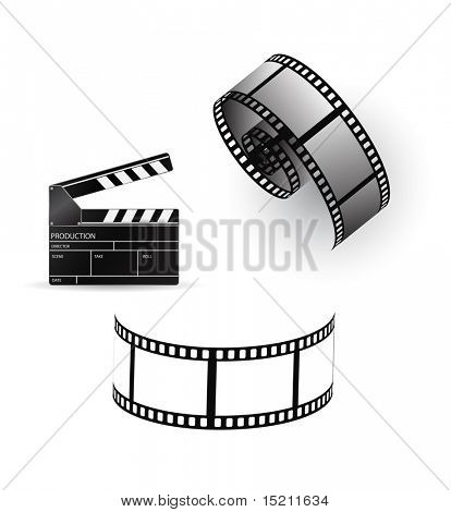 vector film strip with clapboard