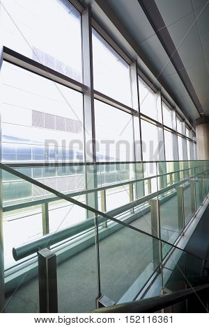 The Modern building interior of glass windows