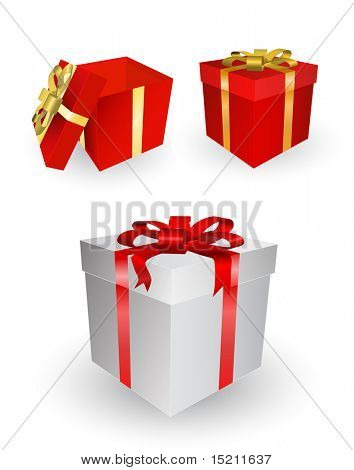 vector gift boxes set on white