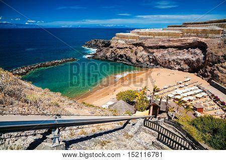 small Abama beach on the west coast of Tenerife Canary islands Spain