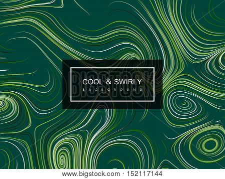 Abstract artistic curl background with swirled stripes. Vector vintage illustration of swirled and curled stripes background. Marble or acrylic texture imitation. Cool and Swirly background