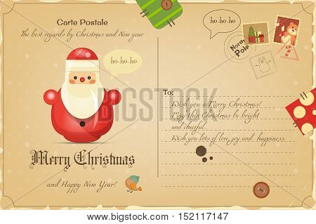 Vintage Postcard with Christmas and New Years Greeting. Backdrop of Postal Card  for Winter Holiday. Santa Claus Toy. Vector Illustration.
