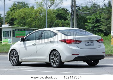 CHIANGMAI THAILAND - OCTOBER 6 2016: Private car Hyundai Elantra. Photo at road no 121 about 8 km from downtown Chiangmai thailand.