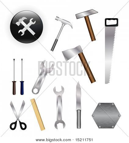 vector tools set on white