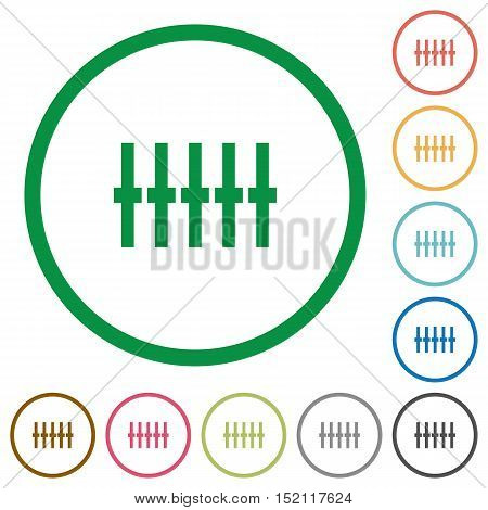 Set of graphical equalizer color round outlined flat icons on white background
