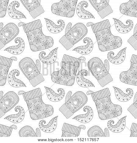 Winter warm knitted mittens, socks seamless pattern in zentangle style. Hand drawn Christmas decorative elements for adult coloring book. Vector illustration for New Year 2017 greeting cards, posters.