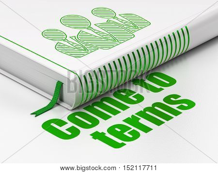 Law concept: closed book with Green Business People icon and text Come To Terms on floor, white background, 3D rendering