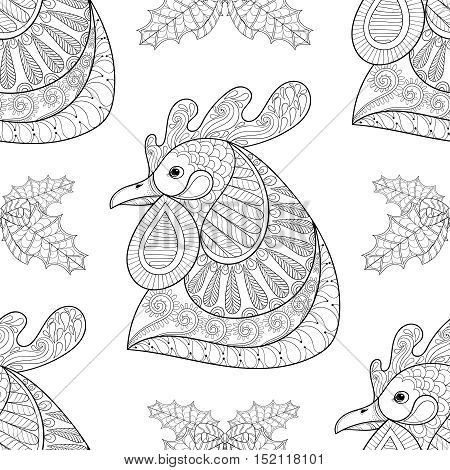 Zentangle Cartoon rooster with mistletoe seamless pattern. Hand drawn sketch for adult coloring pages, t-shirt print, fabric. Vector illustration for New Year 2017 greeting cards, posters, background.