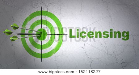 Success law concept: arrows hitting the center of target, Green Licensing on wall background, 3D rendering