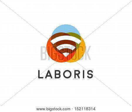 Wifi wireless internet signal logo design. Connection vector icon logotype.