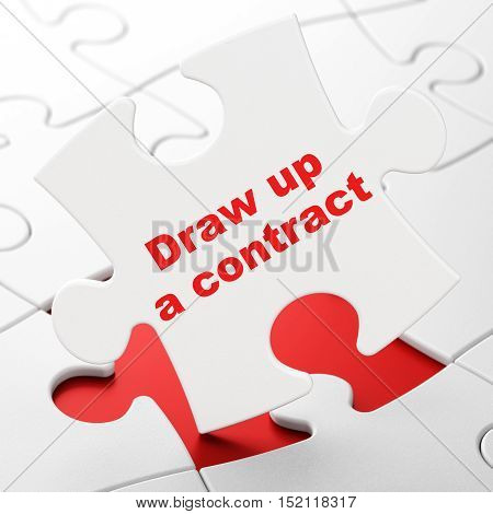 Law concept: Draw up A contract on White puzzle pieces background, 3D rendering