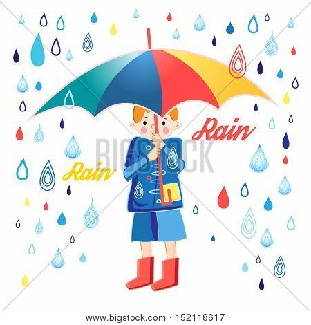 Figure boy under an umbrella on a white background with rain drops