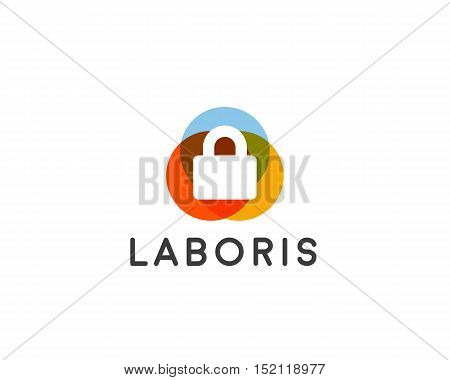 Security lock logo design, vector symbol logotype