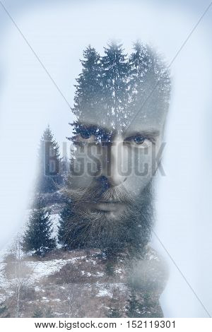 Fashion Artistic Double Exposure Image Of Bearded Hipster