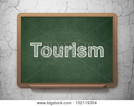 Tourism concept: text Tourism on Green chalkboard on grunge wall background, 3D rendering