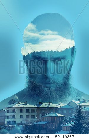 Bearded Angry Hipster In Double Exposure Image