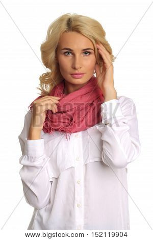 Portrait Of Blond Autumn Beauty In White Shirt And Scarf Isolated