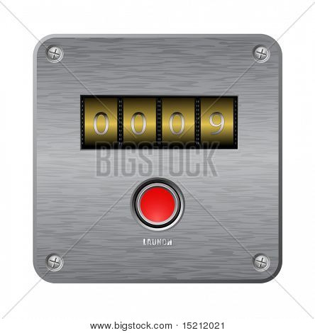 vector web counter with button at metal plate