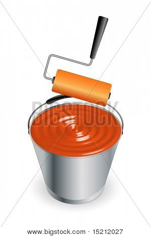 vector bucket with paint roller