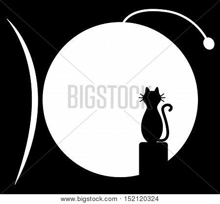 Cat sitting on chimney and looks at the fish moon. Vector black and white illustration