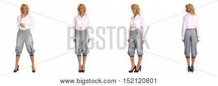 Full-length Portrait Young Sexy Woman In Gray Fashion Shorts Isolated