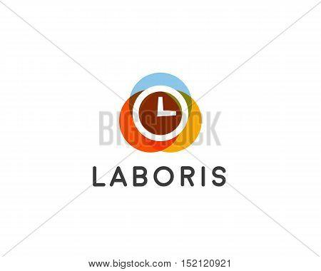 Abstract clock company logo design template. Time vector logotype.